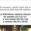 CHIUSURA BIBLIOTECA PERIODO DI NATALE